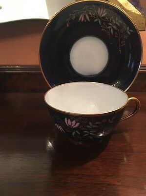 Antique Imperial Russian Kuznetsov Porcelain  Coffee /tea Cobalt Cup With Saucer