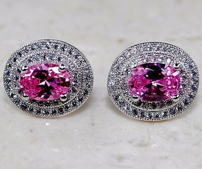 5CT Pink Sapphire & White Topaz 925 Solid Sterling Silver Earrings Jewelry