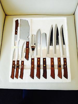 VINTAGE Set of Stainless Steel Knives Familiar Brand Japan Wood Handles