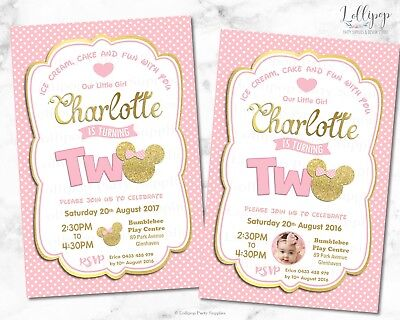 Minnie Mouse Ears 2Nd Second Birthday Invitation Pink Gold Two Personalised Girl