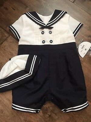 e6d659b8f112 BABY BOY SAILOR White Navy Romper with Hat Suit Grow Summer Outfit ...