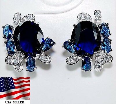 8CT Blue Sapphire & White Topaz 925 Solid Sterling Silver Earrings Jewelry