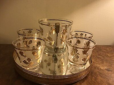 Libbey Glass Rose glassware and ice bucket set