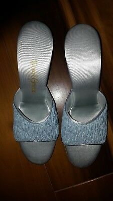 Vintage David Green boudoir slippers/ pale blue