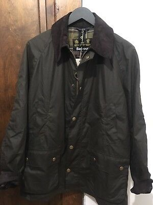 New Men's Barbour Ashby Waxed Jacket Original Tartan Size Large Olive