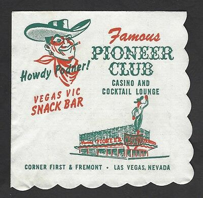 Vintage Vegas Casino Cocktail Napkin - Famous Pioneer Club