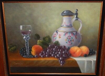 H.nicholas Fruit And Wine Original Oil On Canvas Still Life Painting