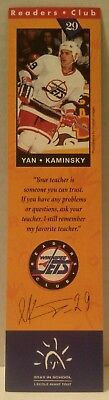 WINNIPEG JETS Readers Club BOOKMARK Hockey BOOKS Education NHL Yan Kaminsky #29