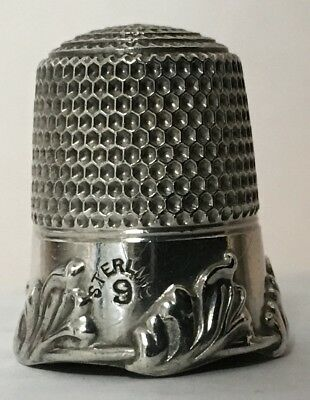 Simon Bros. Sterling Thimble - Wide Band -  Leaf Border Relief - cat.139-c1890s