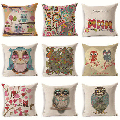 18in Cute Owl Cotton Linen Throw Pillow Case Cushion Cover Home Decor Decorative