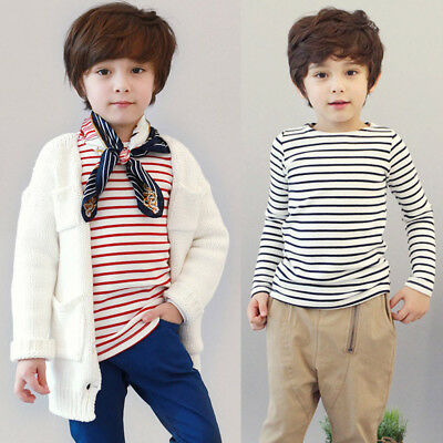 Toddler Infant Baby Boys Girls Cotton Striped Long Sleeve Tops T-Shirt Blouses