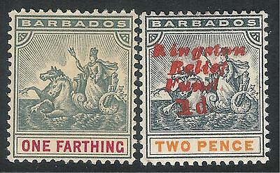 Barbados 1892/1907 grey/carmine 1/4d black/orange 1d on 2d mint SG105/153