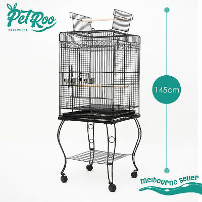 Bird Cage Parrot Aviary Pet Stand-alone Budgie Perch Castor Wheels Large 145cm