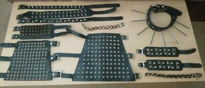 Job Lot of Punk Goth Leather Wristbands Chokers etc