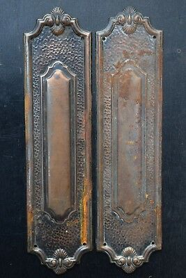Pair of Edwardian Finger Plates old vintage reclaimed pine door push plate