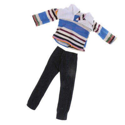 Dolls Clothes Casual Striped Shirt Jeans Pants Trousers For Barbie Ken Doll