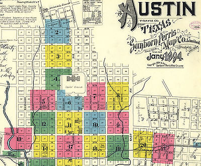 Austin, Texas~Sanborn Map© sheets~ all years in ful color on a CD 139 MAPS