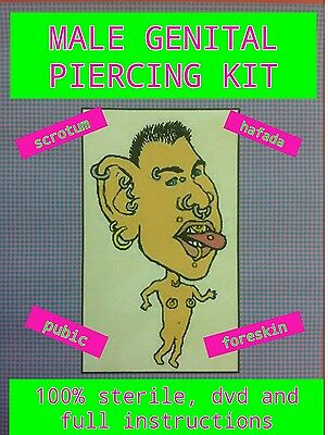 Male Genital Body Piercing, Scrotum, Hafada, bcr or barbells, dvd, instructions