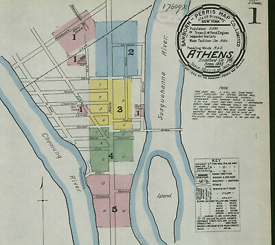 Athens, Pennsylva~Sanborn Map©~sheets 40 maps on a CD made 1885-1911 full color