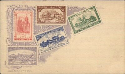 1901 Buffalo Pan-American Expo Postage Stamps Printed Private Mailing Card jrf