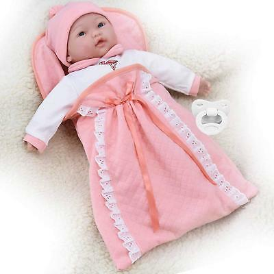 "18"" Baby Doll Soft Bodied in Swaddle Blanket Sleeping Bag 16 Baby Sounds & Dummy"