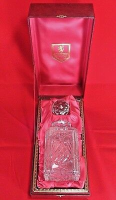 Edinburgh Crystal Heavy Glass Decanter w Stopper, Unmarked Condition Boxed, 25cm