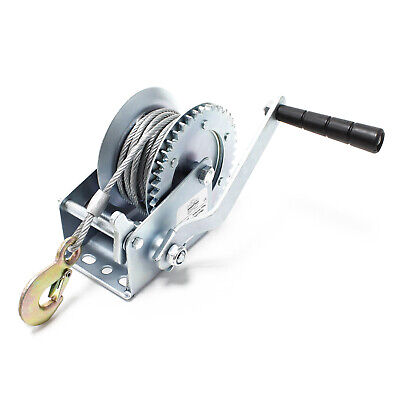 Manual Hand Wire Winch 550kg 10m Rope 4:1:1 Gear Car Boat Trailer Caravan