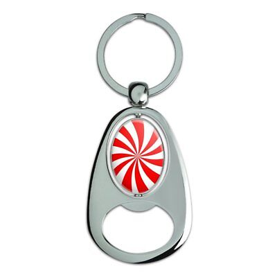 Peppermint Swirl Chrome Plated Metal Spinning Oval Design Bottle Opener Keychain