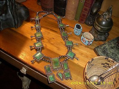 Rare Old  Vintage Huge Native American Green Turquoise Squash Blossom Necklace