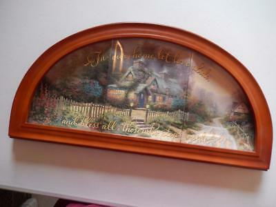 """THOMAS KINKADE """"Blessings of Home"""" Collector Plate series w/wooden display frame"""