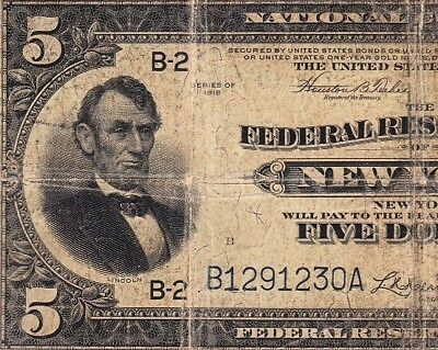 """Nice Circ 1918 $5 """"Lincoln at Left"""" NEW YORK FRBN Note! FREE SHIP! B1291230A"""