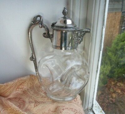 Old Vintage Antique Victorian Silver Plated Glass Claret Jug Decanter c.1880.