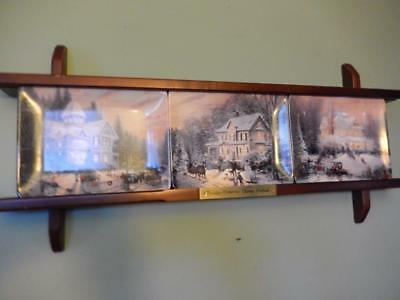 """THOMAS KINKADE """"Holiday Memories"""" Collector Plates with wooden display frame"""