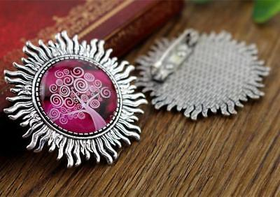 2pcs Antique Silver Plated Brooch Bases | 25mm Setting | Sun Design