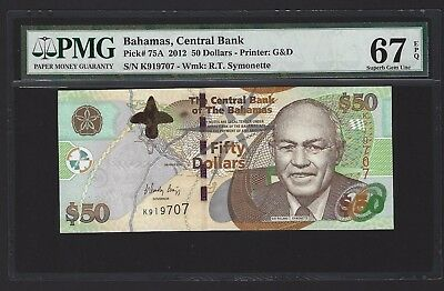 2012 Bahamas $50 Dollars P-75A, PMG 67 EPQ, SUPERB GEM UNC VERY SCARCE TYPE