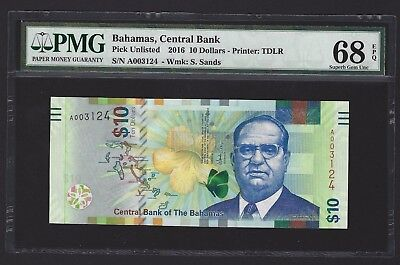 2016 Bahamas $10 Dollars, PMG 68 EPQ, FINEST GRADED, SUPERB GEM UNC P-78