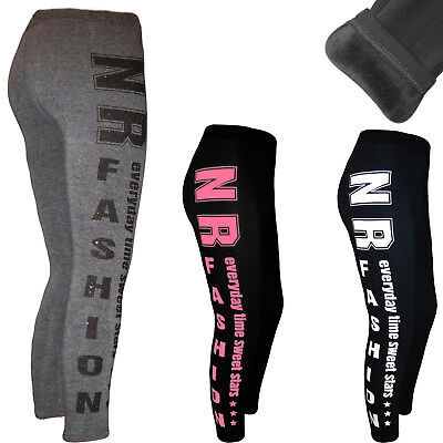 Fell gefüttert Warm Winter Leggings Thermo Jeanslook Hose Leggins Treggings
