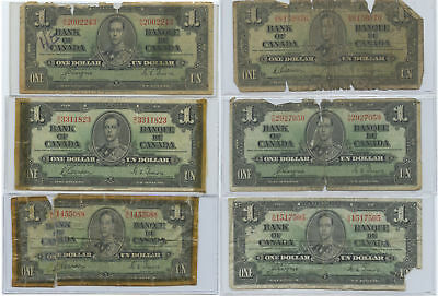 Lot of 6 1937 Bank of Canada $1 All Cull/Damaged