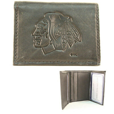Chicago Blackhawks Black Leather Tri-fold Wallet