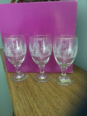 Set of 3 ARBY  STEM GLASSES ETCHED WINTER HOLIDAY CHRISTMAS SCENE GOLD RIM