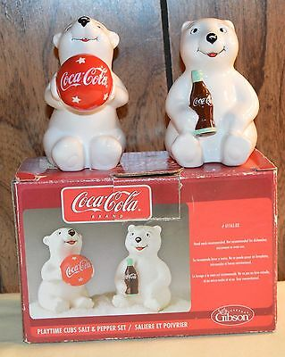 Nos Gibson Coca-Cola Coke Playful Cubs Salt & Pepper Shakers W/box