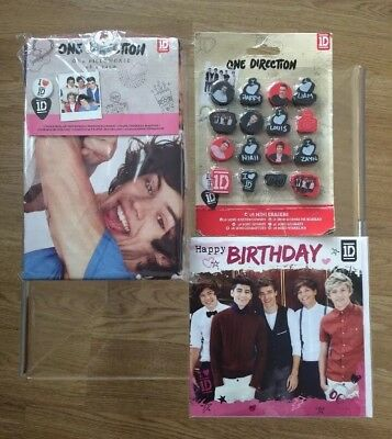 One Direction Bundle 1D 'Birthday Card' / '16 Mini Erasers' / '1 Pillow Case'