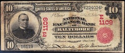 *RARE* 1902 $10 RED SEAL Baltimore, MD National Banknote! FREE SHIP! X224024