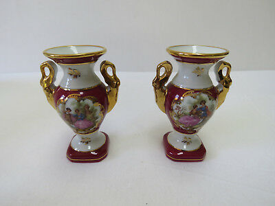 2 Lovely Matching Vintage Limoges DC Porcelain Bud Vases Urns From The 1970s
