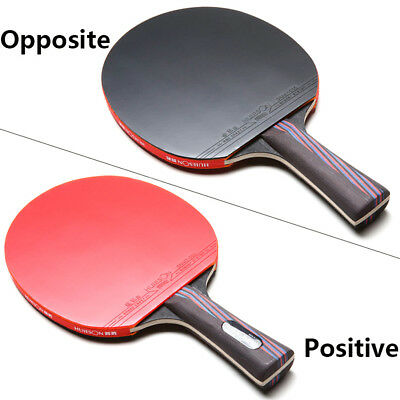 Carbon Fiber Table Tennis Ping Pong Racket Paddle Double Face Pimples-in Rubber