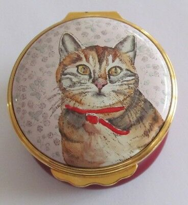 Halcyon Days Enamels Cat Trinket Box Scotty from a Chrissy Wilson Painting