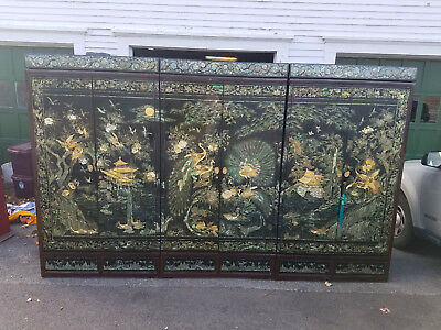 Monumental Korean 3 piece armoire / Wardrobe inlaid Mother of Pearl