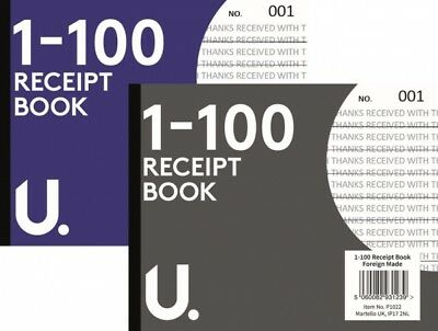 SMALL A6 RECEIPT BOOKS Cash Notepad/Invoice Pad 1-100 Numbered Pages Notebook R