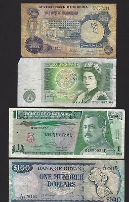 Nigeria Great Britain Guatemala Guyana Banknotes Lot of 4