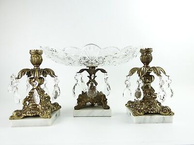 VTG- Large Cut Crystal Prisms Compote Bowl & Candlesticks Marble Base ITALY